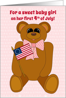 Baby Girl First July 4th Teddy Bear Stars Stripes Forever with Flag card