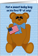 Baby Boy First July 4th Teddy Bear Stars Stripes Forever with Flag card