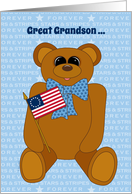 Great Grandson First July 4th Stars Stripes Forever with Flag card