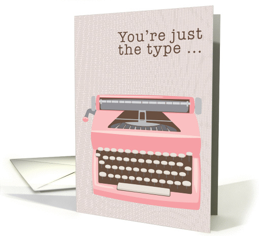 Administrative Professionals Day Pink Typewriter Retro Mod Modern card
