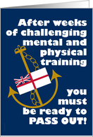 Navy Passing Out Parade Congratulations Anchor and Flag Funny card