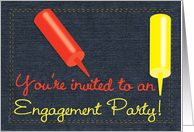 Engagement Party Invitation BBQ Barbeque Theme on Indigo Denim Look card