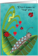 Summer Camp Thinking of You with Cute Beetles Bugs and Worms card