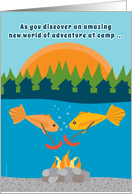 Summer Camp Thinking of You with Funny Fish Roasting Weenies card