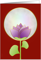 Chinese Mid Autumn Festival Full Moon and Lotus Blossom on Red card