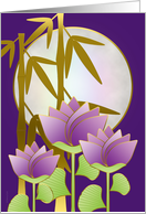 Chinese Mid Autumn Festival Moon Lotus and Bamboo on Purple card