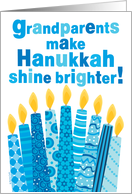 Grandparents Hanukkah Whimsical Candles and Text in Blue card