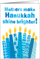 Mother Hanukkah Whimsical Candles and Text in Blue card
