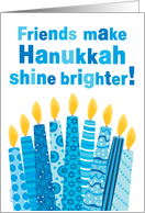 Friends Hanukkah Whimsical Candles and Text in Blue card