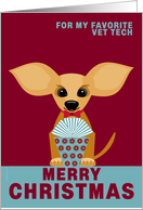 Vet Tech Christmas Chihuahua Dog on Red and Dusty Blue card