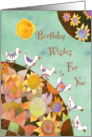 Birds in Flower Land Birthday card