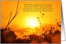 Lovely Golden Sunset Jeremiah 29:11 Encouragement Blank card
