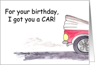Red Convertible CAR for Birthday Humorous card