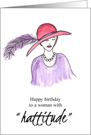 Lady in a Red Hat Happy Birthday card