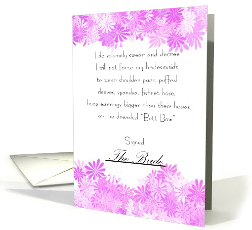 Humorous Will You Be My Bridesmaid Contract Invitation card (398571)