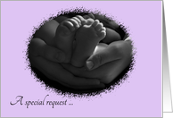 Hands and Baby Feet Will You be our Daughter's Godparents Request card