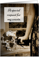 Sepia Bouquet Cousin Bridesmaid Request card