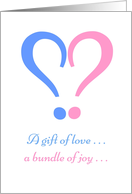 Pink and Blue Question Mark Gender Reveal Invitation card