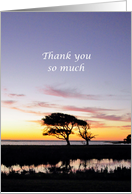 Thank You Pastor, for Performing Funeral Service Tree and Sunset card
