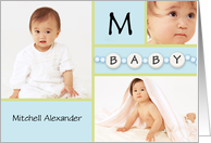 Blue New Baby Boy Announcement - Custom Photo & Name card