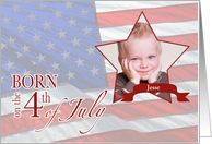 Birthday - Born on the 4th of July Custom Photo/Name card