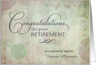 Teacher Retirement Congratulations custom name card