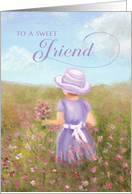 Friend Birthday - girl in lavender picking flowers card