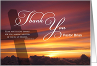 Pastor Thank You Custom Name Sunset above the Clouds card