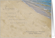 Remembering Husband on Anniversary of Death Personalized Footprints card