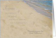 Remembering Son on Anniversary of Death Personalized Footprints card