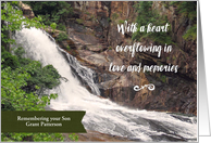 Remembering Son on Anniversary of Death Personalized Waterfall card