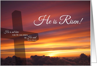 He Is Risen - Easter Sunset Cross card