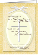 Baptism IInvitation - w/ Cross & ribbon card