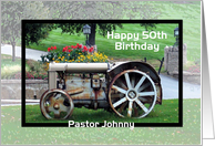 Pastor __th birthday Tractor - custom name and age card
