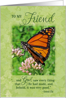 Friend Birthday Butterfly Scripture Verse card