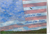 Land of the Free Military family Thank you, American flag & Eagle card