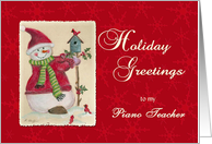 Piano Teacher Holiday Greetings Snowman card