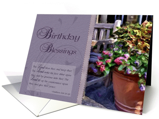 Birthday Blessings - Floral, Bible Verse card (828582)