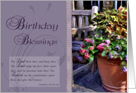 Birthday Blessings - Floral, Bible Verse card