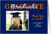 Blue & Orange Graduation Thank You - Custom Photo Card