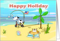 Funny happy holiday labor day card, Fat Cat and Duncan card