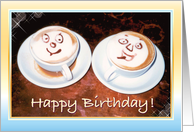 Happy Birthday - Smiling Coffee Cups card