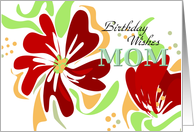 Birthday Wishes Mom Bold Poppy Red Flowers card