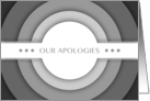 our apologies (blank inside) card