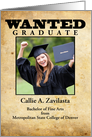 wanted poster graduate announcement template card