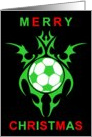 tribal soccer ball merry christmas card