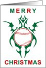 tribal baseball merry christmas card
