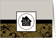 our first home announcement : professional damask card