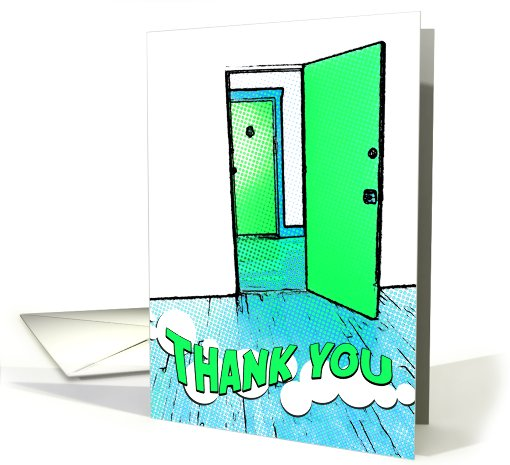 thank you for the housewarming gift : comic doorway card (738387)