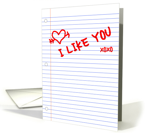 I like you notebook paper card (893837)